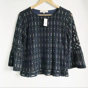 LOFT Navy Crochet Weave Bell Sleeve Blouse NWT